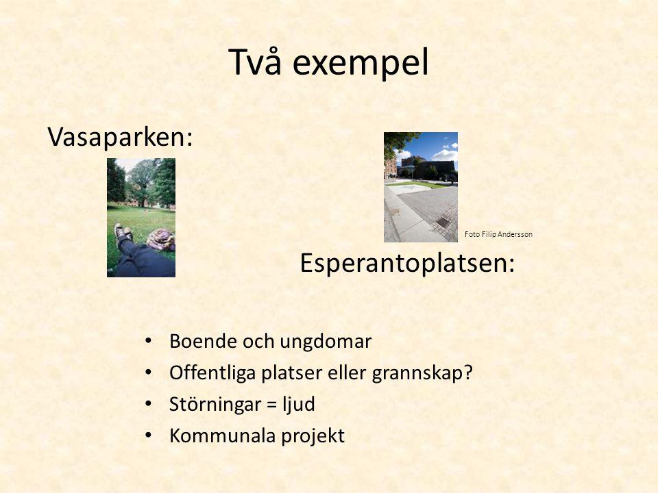 Två exempel Vasaparken: Esperantoplatsen: • Boende och ungdomar • Offentliga platser eller grannskap? • Störningar = ljud • Kommunala projekt Foto Fil