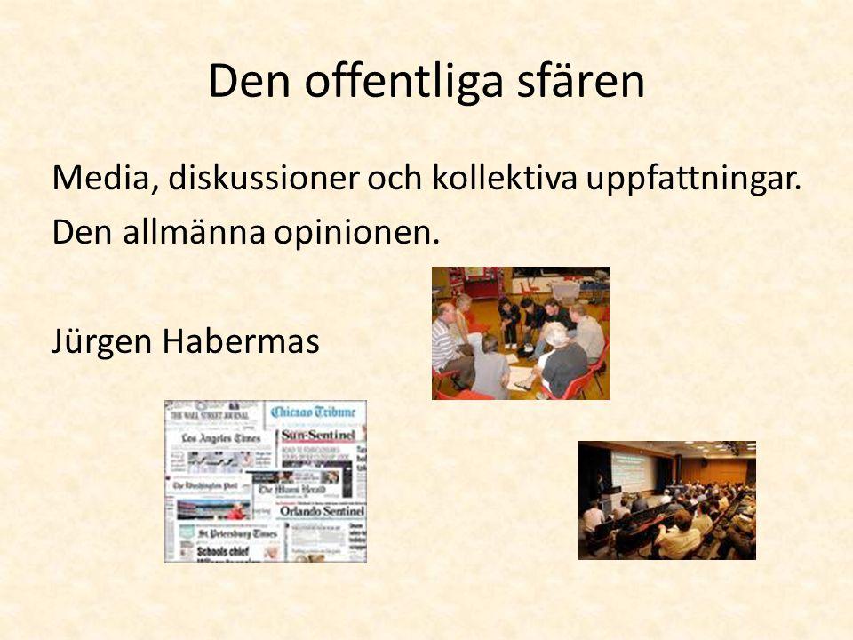 Den offentliga sfären Media, diskussioner och kollektiva uppfattningar.