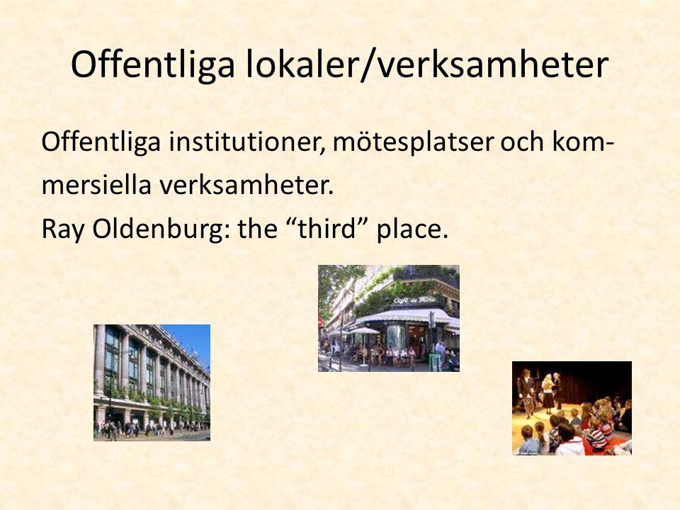 """Offentliga lokaler/verksamheter Offentliga institutioner, mötesplatser och kom- mersiella verksamheter. Ray Oldenburg: the """"third"""" place."""