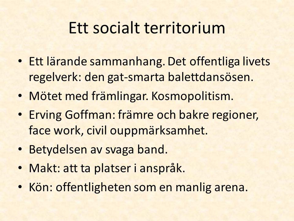 Ett socialt territorium • Ett lärande sammanhang. Det offentliga livets regelverk: den gat-smarta balettdansösen. • Mötet med främlingar. Kosmopolitis