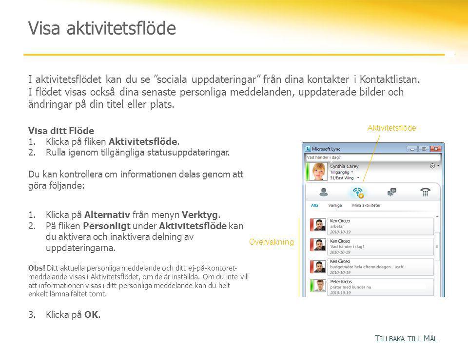 """Visa aktivitetsflöde I aktivitetsflödet kan du se """"sociala uppdateringar"""" från dina kontakter i Kontaktlistan. I flödet visas också dina senaste perso"""
