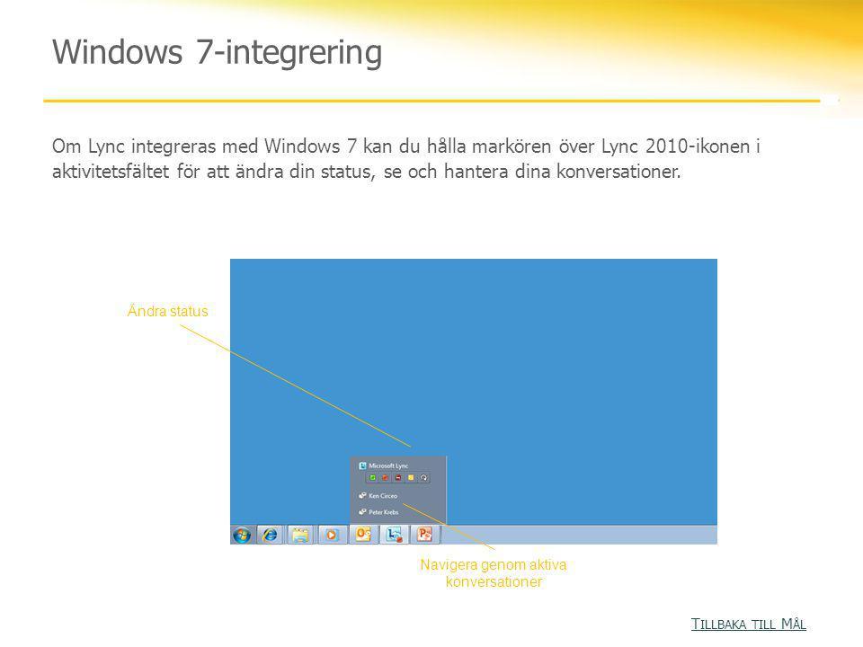 Windows 7-integrering Om Lync integreras med Windows 7 kan du hålla markören över Lync 2010-ikonen i aktivitetsfältet för att ändra din status, se och