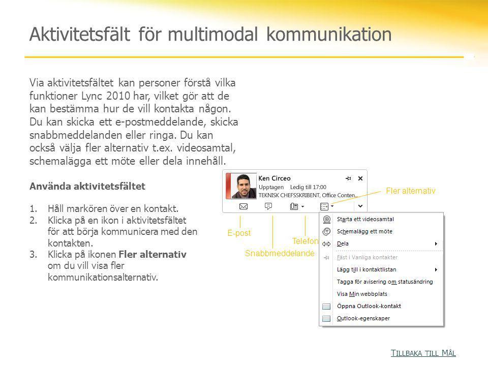 Aktivitetsfält för multimodal kommunikation Via aktivitetsfältet kan personer förstå vilka funktioner Lync 2010 har, vilket gör att de kan bestämma hur de vill kontakta någon.