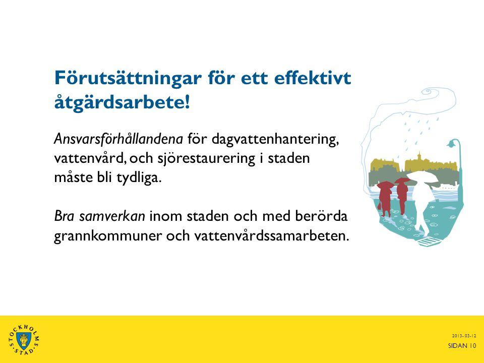 Förutsättningar för ett effektivt åtgärdsarbete! Ansvarsförhållandena för dagvattenhantering, vattenvård, och sjörestaurering i staden måste bli tydli