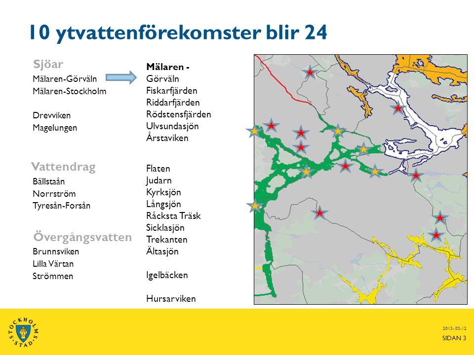 2013- 03-12 SIDAN 3 10 ytvattenförekomster blir 24 Sjöar Mälaren-Görväln Mälaren-Stockholm Drevviken Magelungen Vattendrag Bällstaån Norrström Tyresån