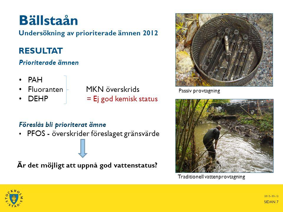 Bällstaån Undersökning av prioriterade ämnen 2012 RESULTAT 2013- 03-12 SIDAN 7 Prioriterade ämnen • PAH • Fluoranten MKN överskrids • DEHP = Ej god ke