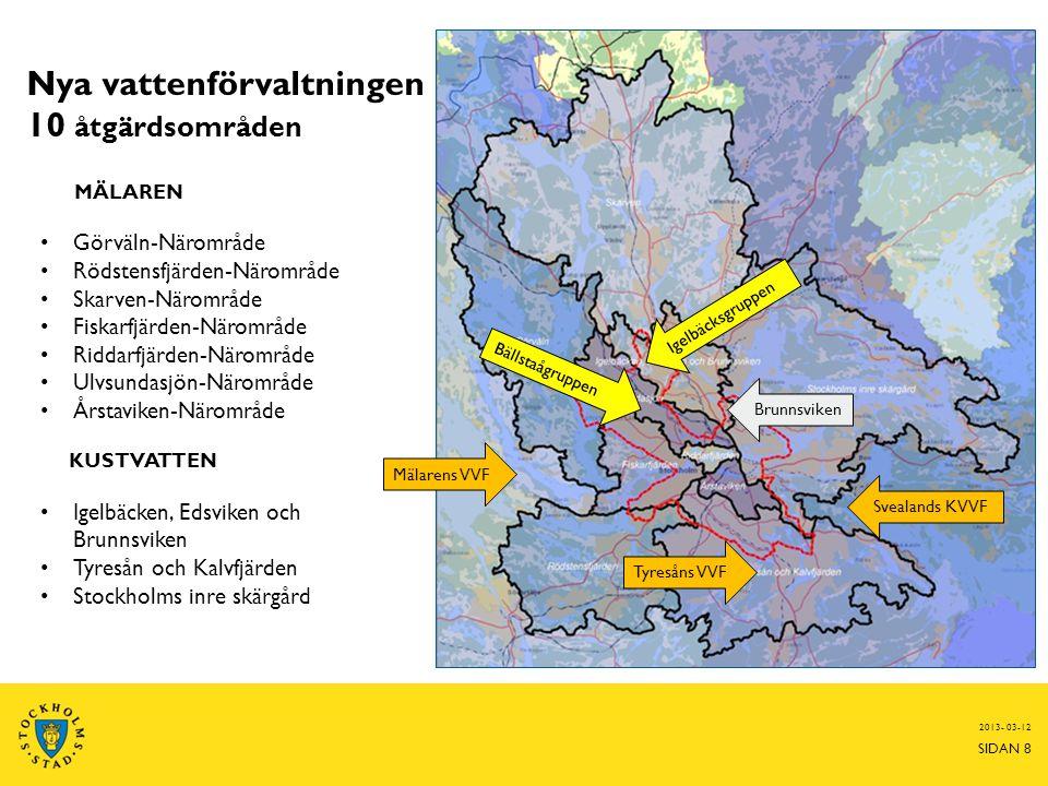 Vattenprogrammet Handlingsplan för god vattenstatus 2021 Handlingsplanen ska:  Tydliggöra vad som behövs för att Stockholms sjöar, vattendrag, Mälarvikar och Saltsjövikar ska kunna uppnå en god ekologisk och kemisk status  Vara ett underlag i den fysiska planeringen, i tillsynen och för planering av åtgärder  Koordineras med vattenmyndighetens Förvaltningsplan och Åtgärdsprogram Fokus på vattenkvalitet och åtgärder.