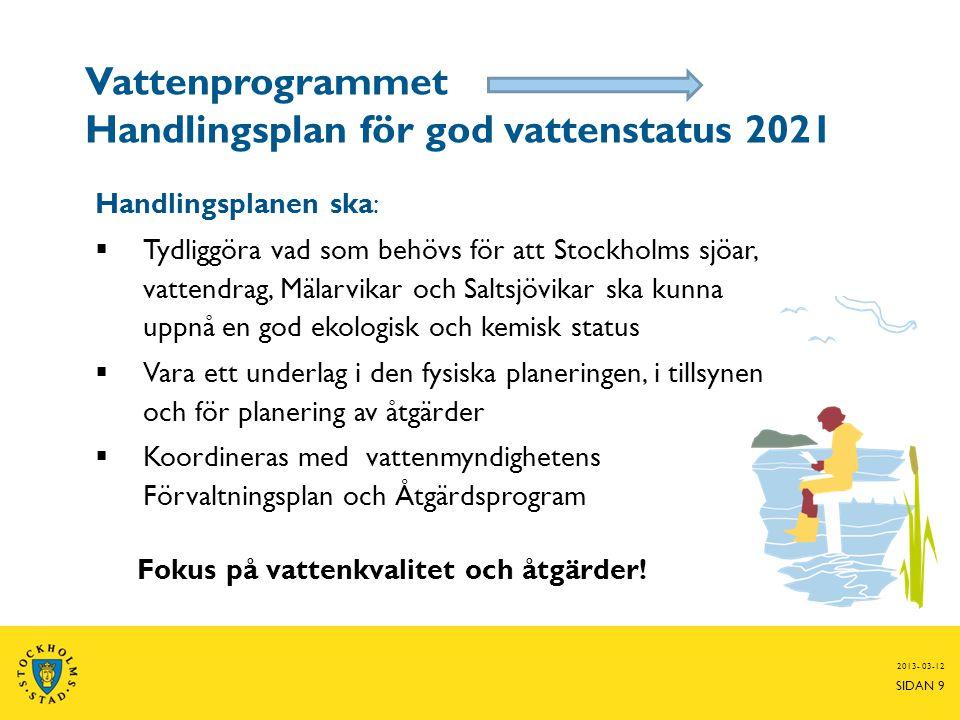 Vattenprogrammet Handlingsplan för god vattenstatus 2021 Handlingsplanen ska:  Tydliggöra vad som behövs för att Stockholms sjöar, vattendrag, Mälarv