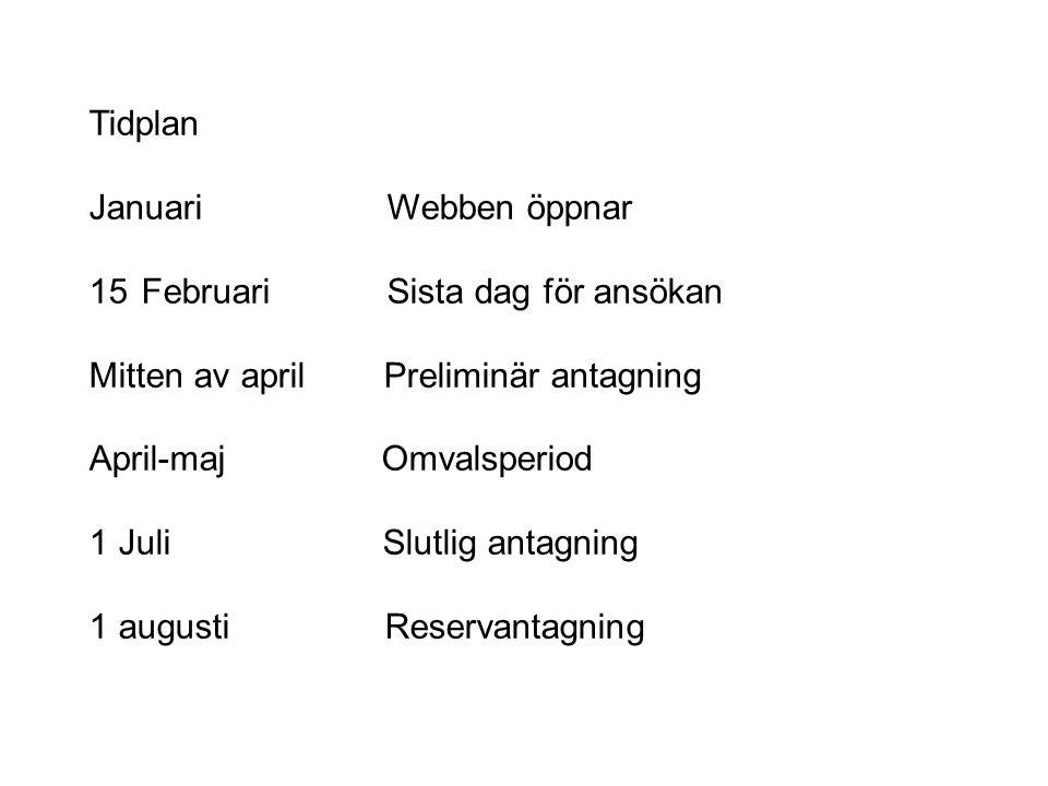 Tidplan Januari Webben öppnar 15Februari Sista dag för ansökan Mitten av april Preliminär antagning April-maj Omvalsperiod 1 Juli Slutlig antagning 1