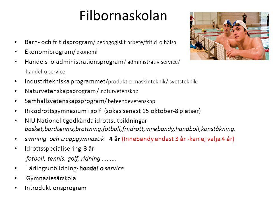 Filbornaskolan • Barn- och fritidsprogram / pedagogiskt arbete/fritid o hälsa • Ekonomiprogram/ ekonomi • Handels- o administrationsprogram / administ