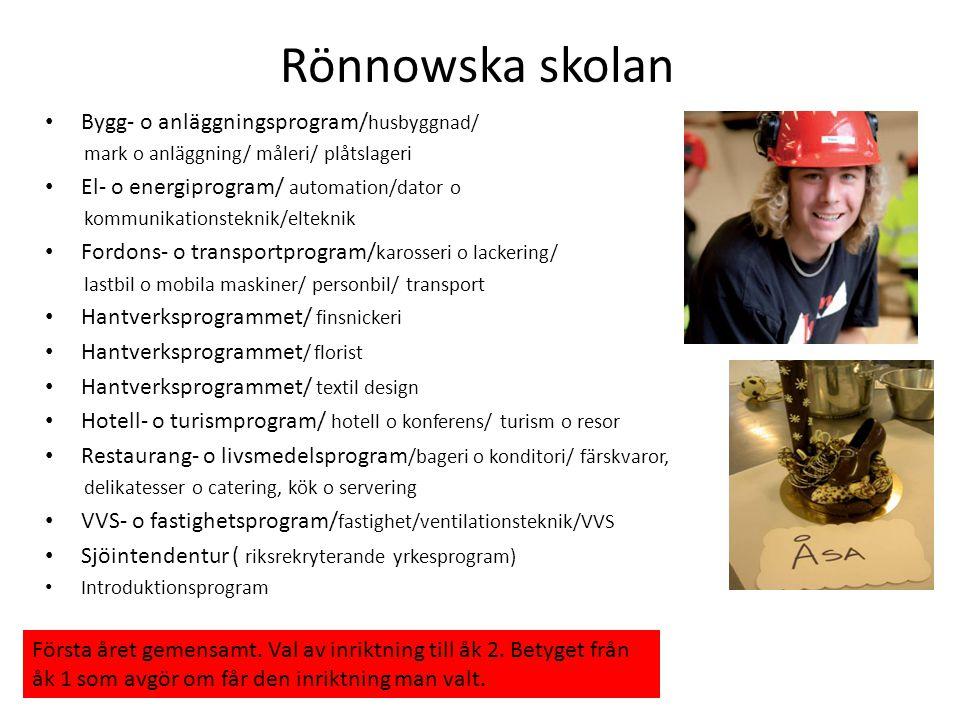 Rönnowska skolan • Bygg- o anläggningsprogram/ husbyggnad/ mark o anläggning/ måleri/ plåtslageri • El- o energiprogram/ automation/dator o kommunikat