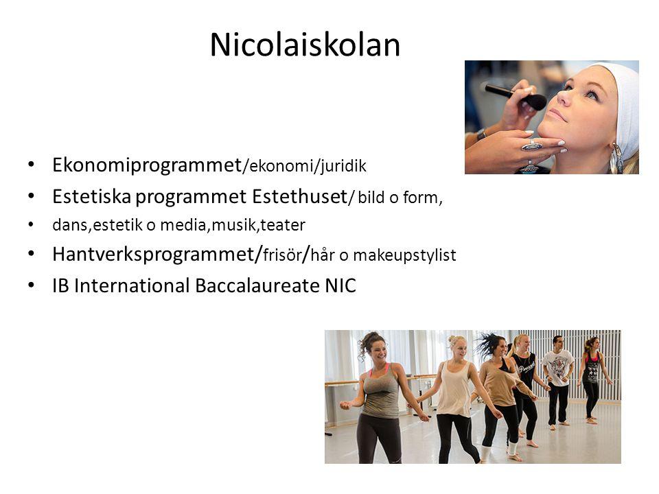Nicolaiskolan • Ekonomiprogrammet /ekonomi/juridik • Estetiska programmet Estethuset / bild o form, • dans,estetik o media,musik,teater • Hantverkspro