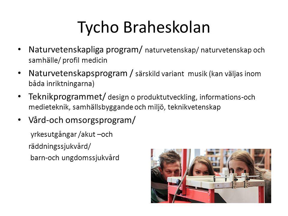Tycho Braheskolan • Naturvetenskapliga program/ naturvetenskap/ naturvetenskap och samhälle/ profil medicin • Naturvetenskapsprogram / särskild varian