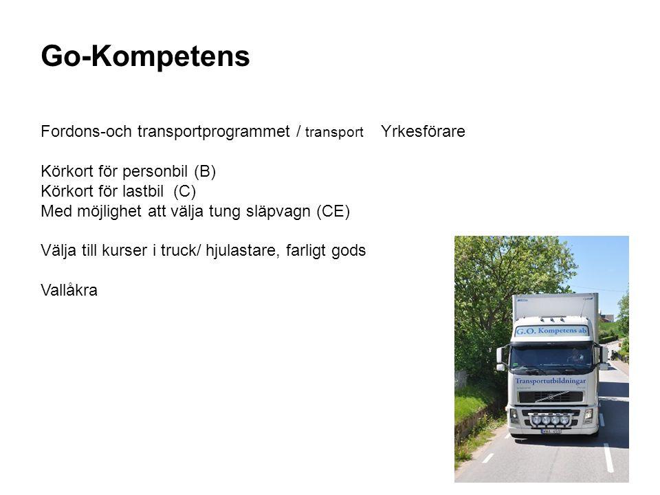 Go-Kompetens Fordons-och transportprogrammet / transport Yrkesförare Körkort för personbil (B) Körkort för lastbil (C) Med möjlighet att välja tung sl