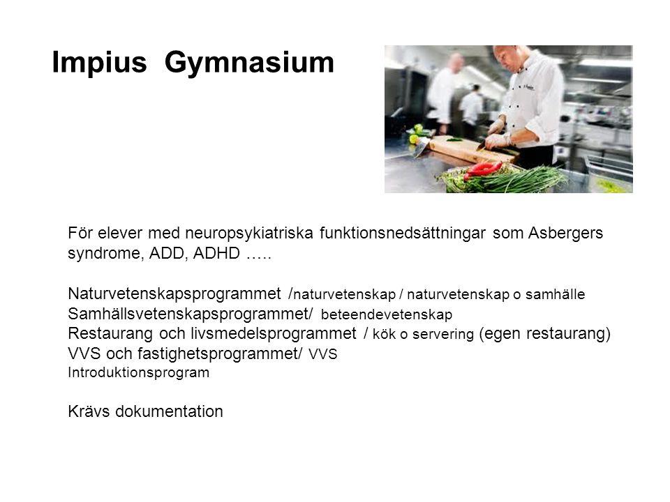 Impius Gymnasium För elever med neuropsykiatriska funktionsnedsättningar som Asbergers syndrome, ADD, ADHD ….. Naturvetenskapsprogrammet / naturvetens
