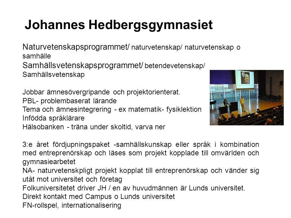 Johannes Hedbergsgymnasiet Naturvetenskapsprogrammet/ naturvetenskap/ naturvetenskap o samhälle Samhällsvetenskapsprogrammet/ betendevetenskap/ Samhäl