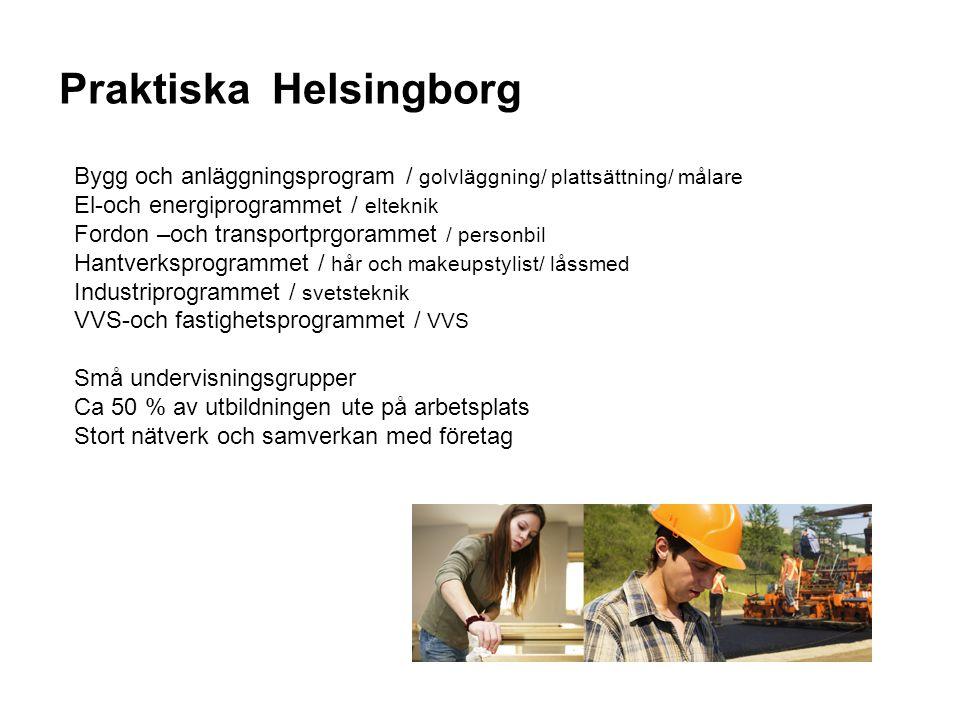 Praktiska Helsingborg Bygg och anläggningsprogram / golvläggning/ plattsättning/ målare El-och energiprogrammet / elteknik Fordon –och transportprgora