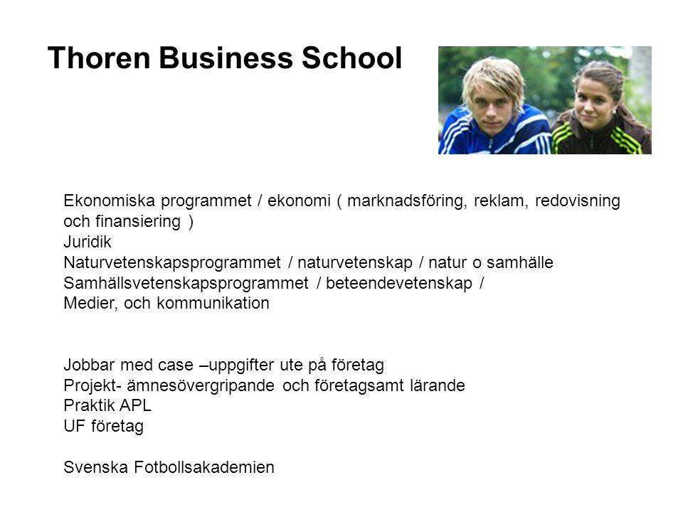 Thoren Business School Ekonomiska programmet / ekonomi ( marknadsföring, reklam, redovisning och finansiering ) Juridik Naturvetenskapsprogrammet / na