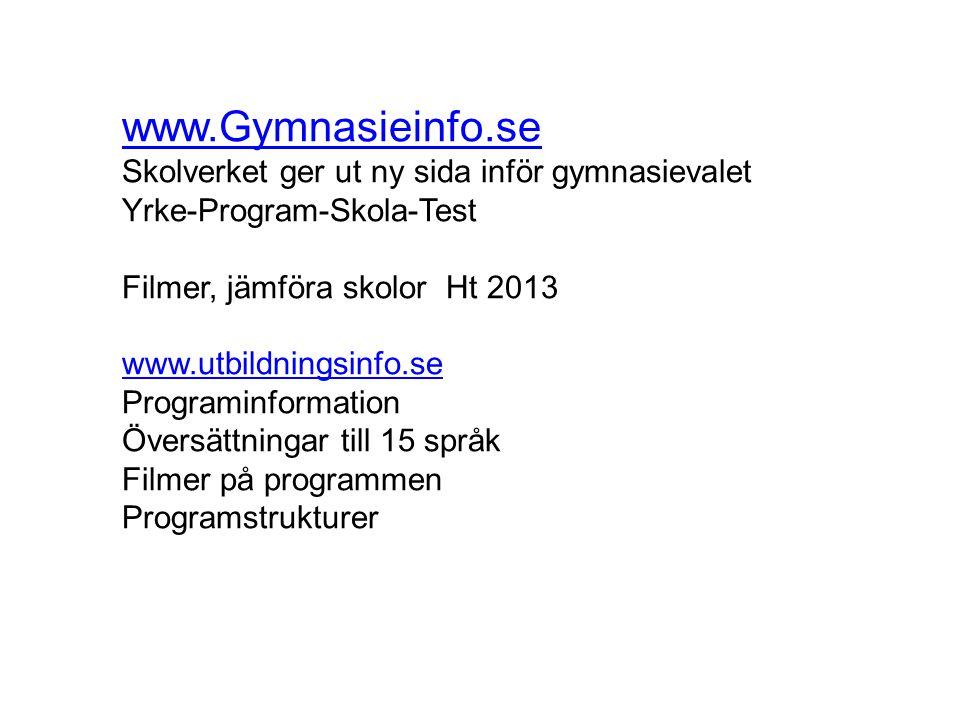 www.Gymnasieinfo.se Skolverket ger ut ny sida inför gymnasievalet Yrke-Program-Skola-Test Filmer, jämföra skolor Ht 2013 www.utbildningsinfo.se Progra