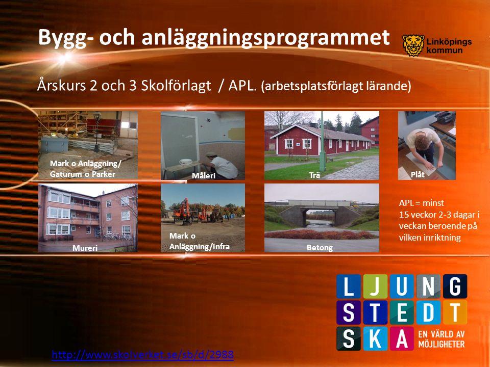 Bygg- och anläggningsprogrammet http://www.skolverket.se/sb/d/2988 Bra webbsidor att besöka för mera information om vårt program/yrke • www.byn.se • www.linkoping.se/alg • www.byggare.com • www.byggnads.se