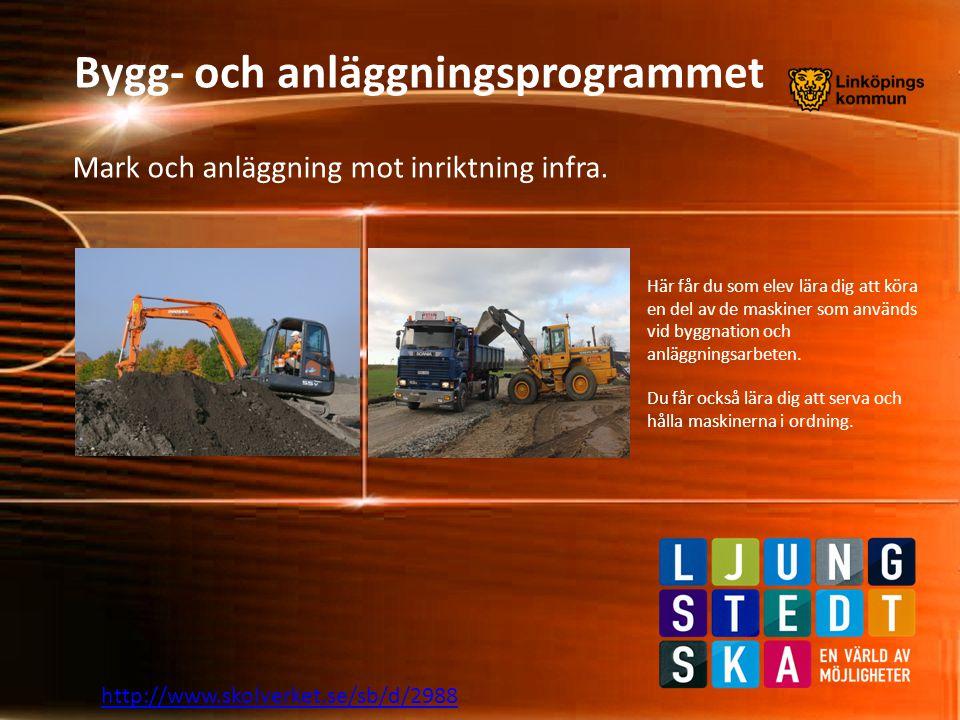 http://www.skolverket.se/sb/d/2988 På mark och anläggning får du som elev lära dig olika markarbeten som: husgrunder, VA-anläggningar, dränering, fjärrvärme och telekommunikation.