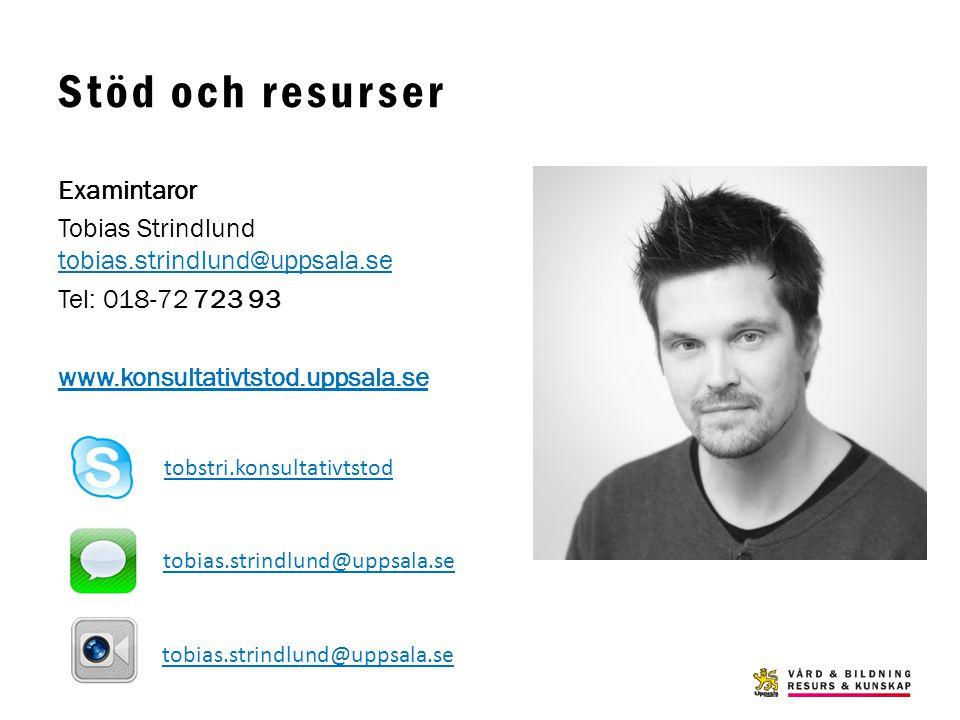 Stöd och resurser Examintaror Tobias Strindlund tobias.strindlund@uppsala.se tobias.strindlund@uppsala.se Tel: 018-72 723 93 www.konsultativtstod.upps