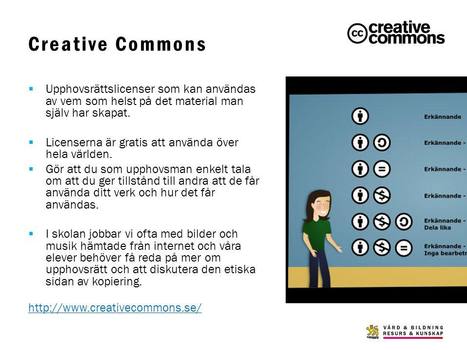 Creative Commons  Upphovsrättslicenser som kan användas av vem som helst på det material man själv har skapat.  Licenserna är gratis att använda öve