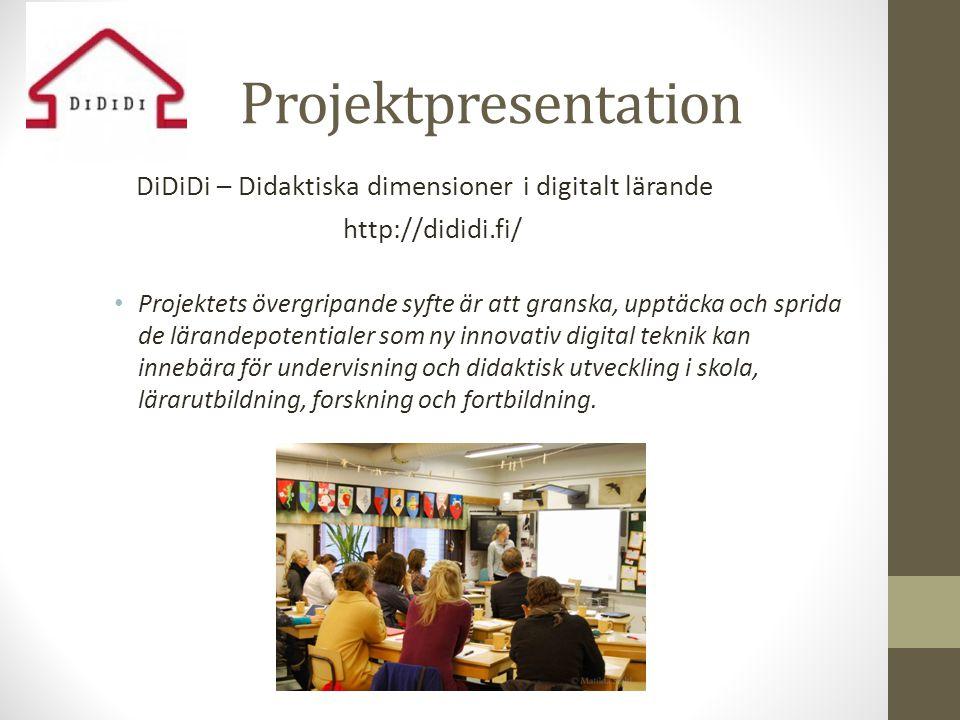 Didaktiska dimensioner i digitalt lärande: delprojekt Bakgrund: • Intelligent på tangent (IPT) 2006-2010 • Heilä-Ylikallio & Häggblom (red.) (2010) Intelligent på tangent • Häggblom (2012) Blicken, fingrarna och kroppen vid datorn.
