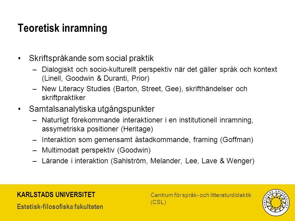 KARLSTADS UNIVERSITET Estetisk-filosofiska fakulteten Centrum för språk- och litteraturdidaktik (CSL) Teoretisk inramning •Skriftspråkande som social
