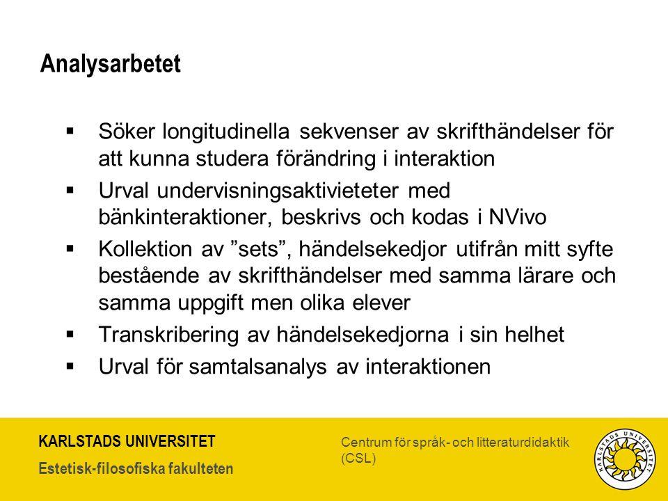 KARLSTADS UNIVERSITET Estetisk-filosofiska fakulteten Centrum för språk- och litteraturdidaktik (CSL) Analysarbetet  Söker longitudinella sekvenser a