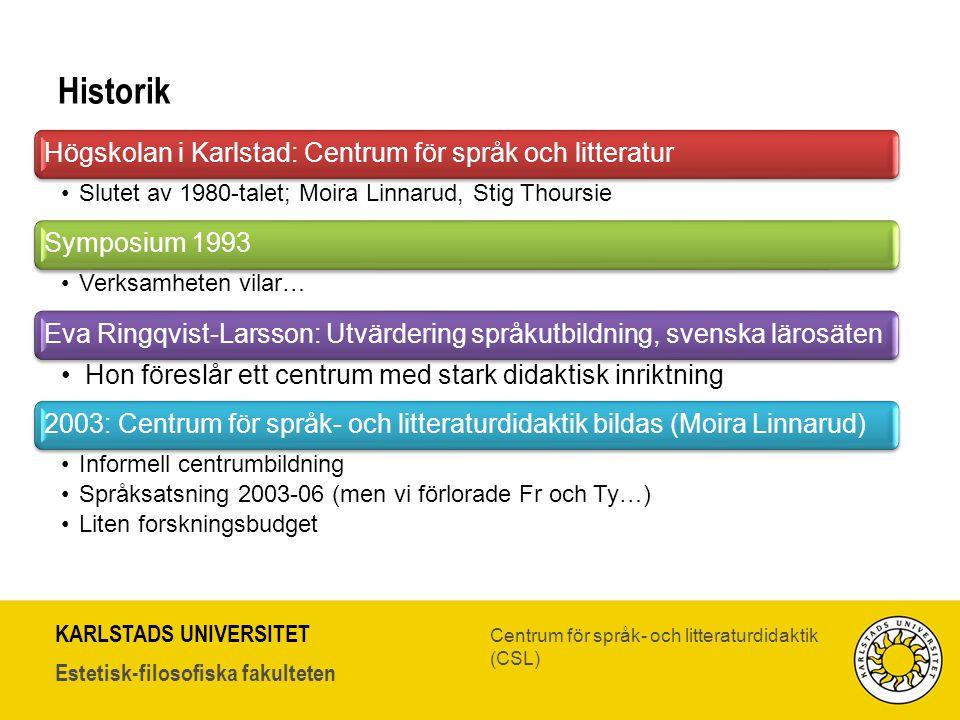 KARLSTADS UNIVERSITET Estetisk-filosofiska fakulteten Centrum för språk- och litteraturdidaktik (CSL) Historik Högskolan i Karlstad: Centrum för språk