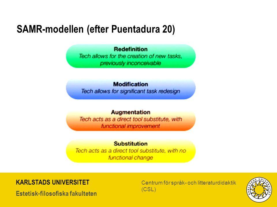 KARLSTADS UNIVERSITET Estetisk-filosofiska fakulteten Centrum för språk- och litteraturdidaktik (CSL) SAMR-modellen (efter Puentadura 20)