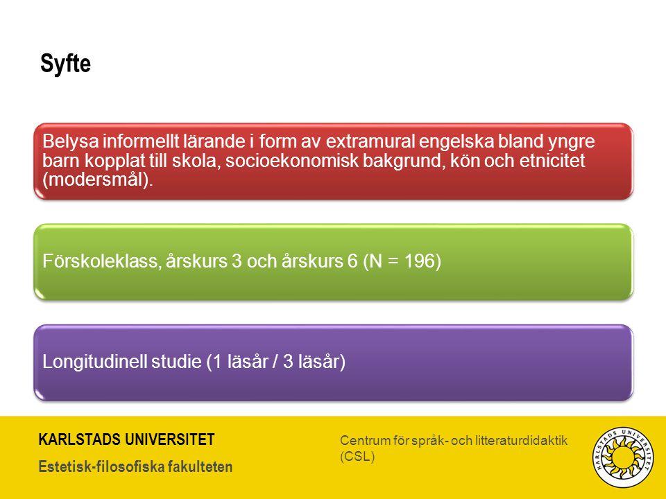 KARLSTADS UNIVERSITET Estetisk-filosofiska fakulteten Centrum för språk- och litteraturdidaktik (CSL) Syfte Belysa informellt lärande i form av extram