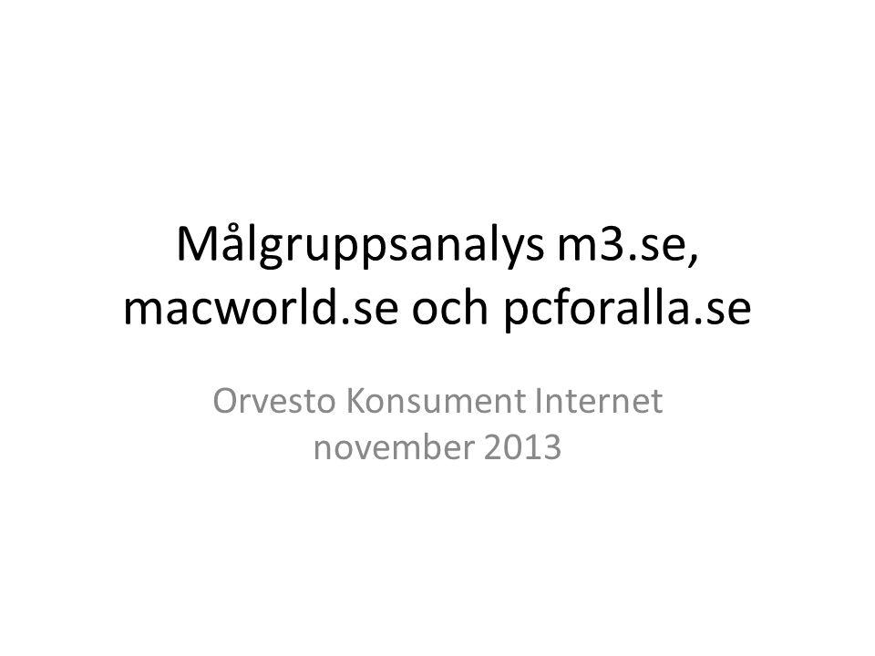 Målgruppsanalys m3.se, macworld.se och pcforalla.se Orvesto Konsument Internet november 2013