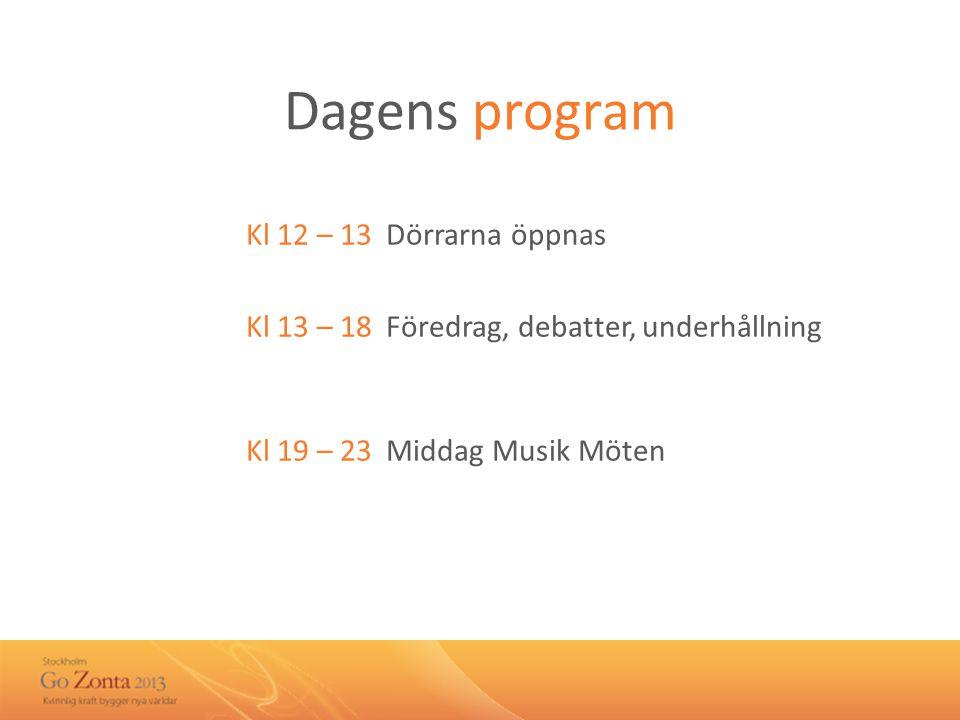 Dagens program Kl 12 – 13 Dörrarna öppnas Kl 13 – 18 Föredrag, debatter, underhållning Kl 19 – 23 Middag Musik Möten