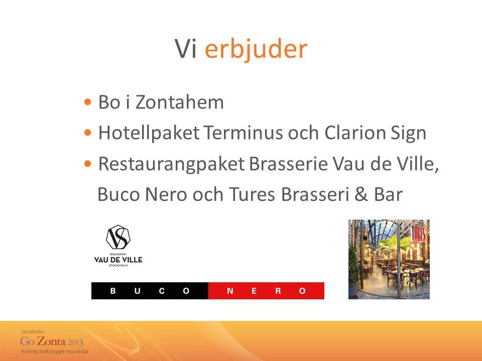Vi erbjuder • Bo i Zontahem • Hotellpaket Terminus och Clarion Sign • Restaurangpaket Brasserie Vau de Ville, Buco Nero och Tures Brasseri & Bar