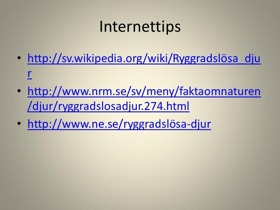 Internettips • http://sv.wikipedia.org/wiki/Ryggradslösa_dju r http://sv.wikipedia.org/wiki/Ryggradslösa_dju r • http://www.nrm.se/sv/meny/faktaomnatu