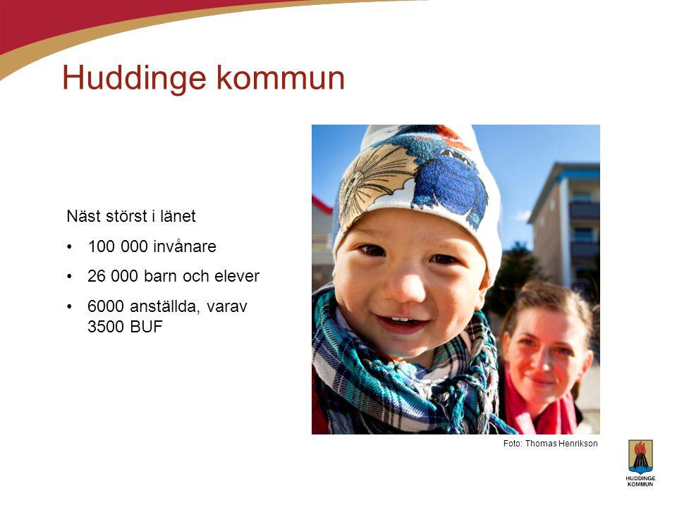 Huddinge kommun Näst störst i länet •100 000 invånare •26 000 barn och elever •6000 anställda, varav 3500 BUF Foto: Thomas Henrikson