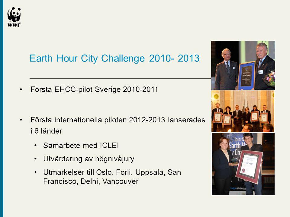 Earth Hour City Challenge 2010- 2013 •Första EHCC-pilot Sverige 2010-2011 •Första internationella piloten 2012-2013 lanserades i 6 länder •Samarbete m