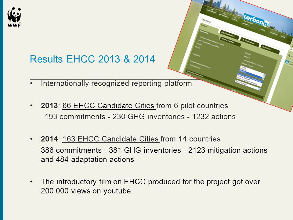 Results EHCC 2013 & 2014 •Internationally recognized reporting platform •2013: 66 EHCC Candidate Cities from 6 pilot countries 193 commitments - 230 G