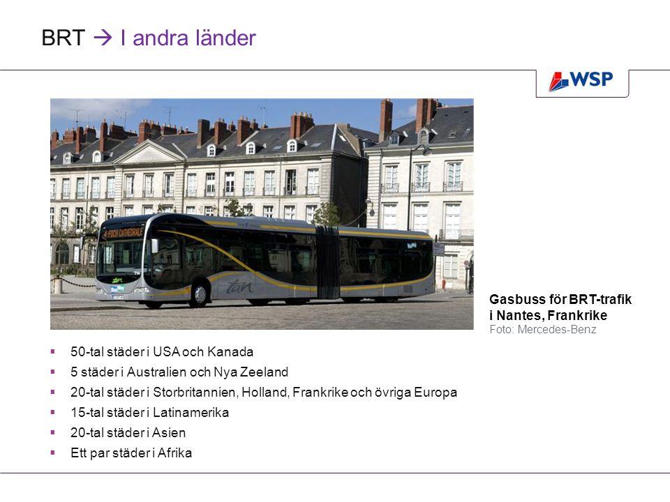 Jämförelse  Kapitalkostnader buss, BRT, Spårväg  Traditionell busstrafik billigast  Spårväg (lågkostnadsalternativ) 60 % dyrare än BRT  Spårväg (Stockholm) 8 gånger så dyrt som BRT Investeringskostnader för buss, BRT och spårväg i Mkr per km bana/linje