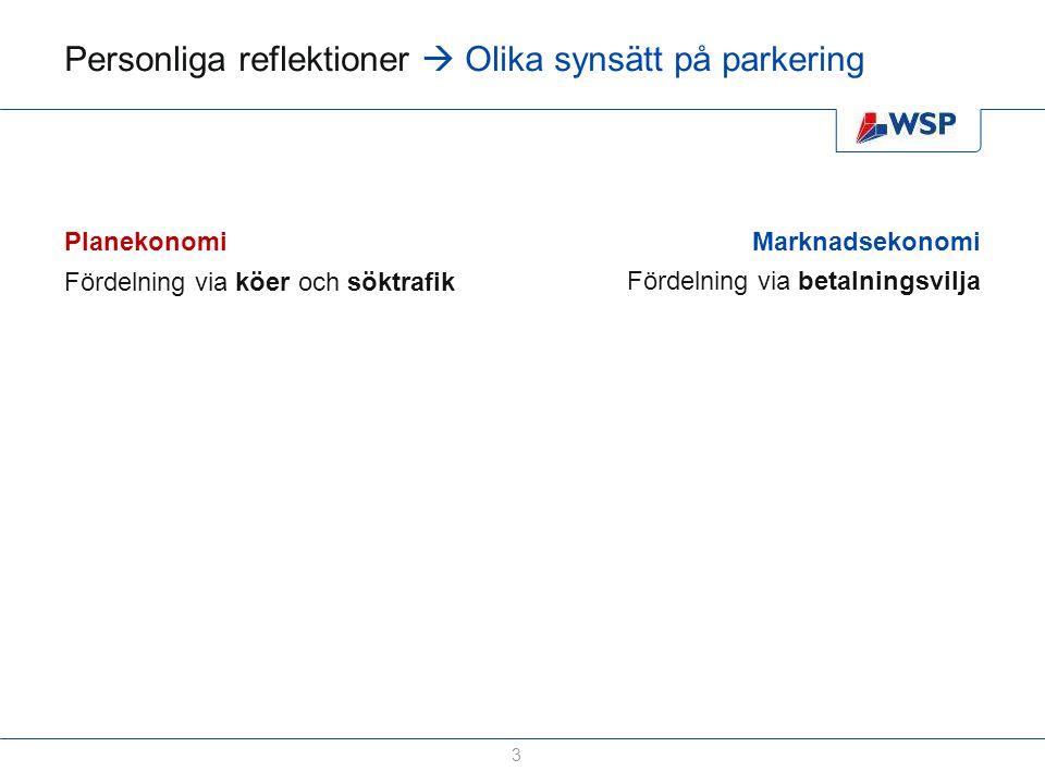 Personliga reflektioner  Olika synsätt på parkering 4 Planekonomi Fördelning via köer och söktrafik Låga priser som sätts statiskt Marknadsekonomi Fördelning via betalningsvilja Priser sätts efter tillgång & efterfrågan