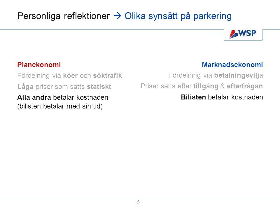 Personliga reflektioner  Olika synsätt på parkering 5 Planekonomi Fördelning via köer och söktrafik Låga priser som sätts statiskt Alla andra betalar