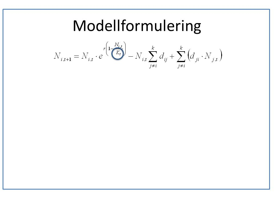 Modellformulering • Ekarna åldras och förändras över tiden. • Variation i temperatur, fuktighet, sol mm. • Ekarna är lika gamla. • Omvärldsvariation.
