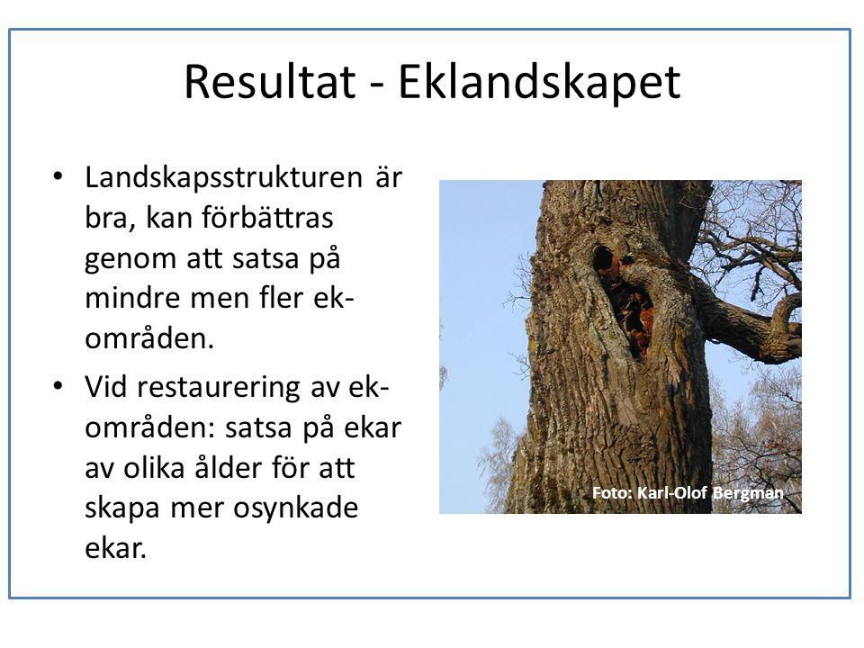 Resultat - Eklandskapet • Landskapsstrukturen är bra, kan förbättras genom att satsa på mindre men fler ek- områden. • Vid restaurering av ek- områden