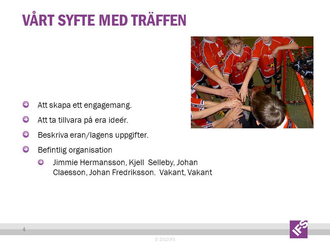 VÅRT SYFTE MED TRÄFFEN © 2010 IFS 4 Att skapa ett engagemang.