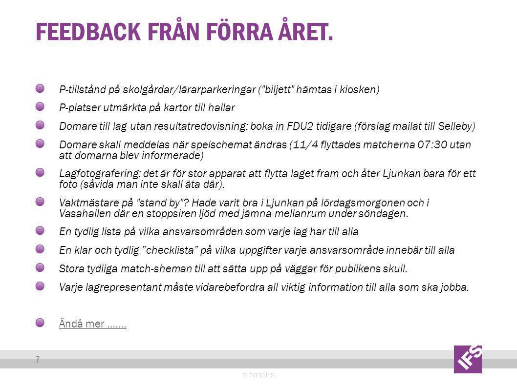 FEEDBACK FRÅN FÖRRA ÅRET.