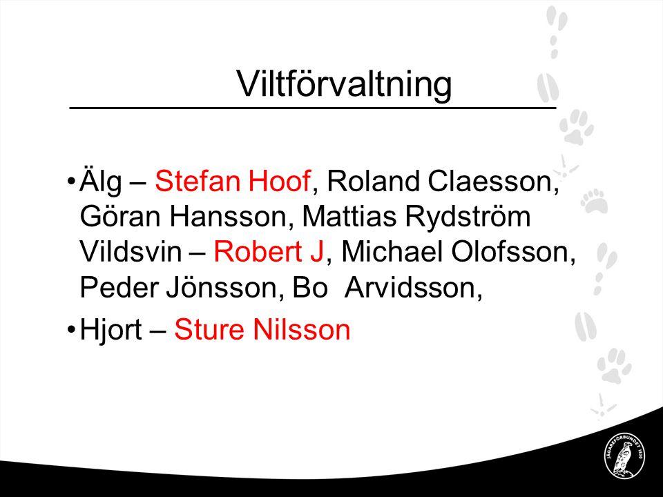 Viltförvaltning •Småvilt / Viltvård – Christer Ljung, Stig J, Ingemar Kastensson, L-D A, •Viltövervakning – Jan W Håkan •Rovdjur – Göran Hansson