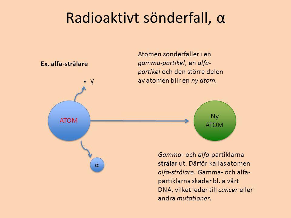 Radioaktivt sönderfall, α Ex. alfa-strålare ATOM Ny ATOM α α γ Atomen sönderfaller i en gamma-partikel, en alfa- partikel och den större delen av atom