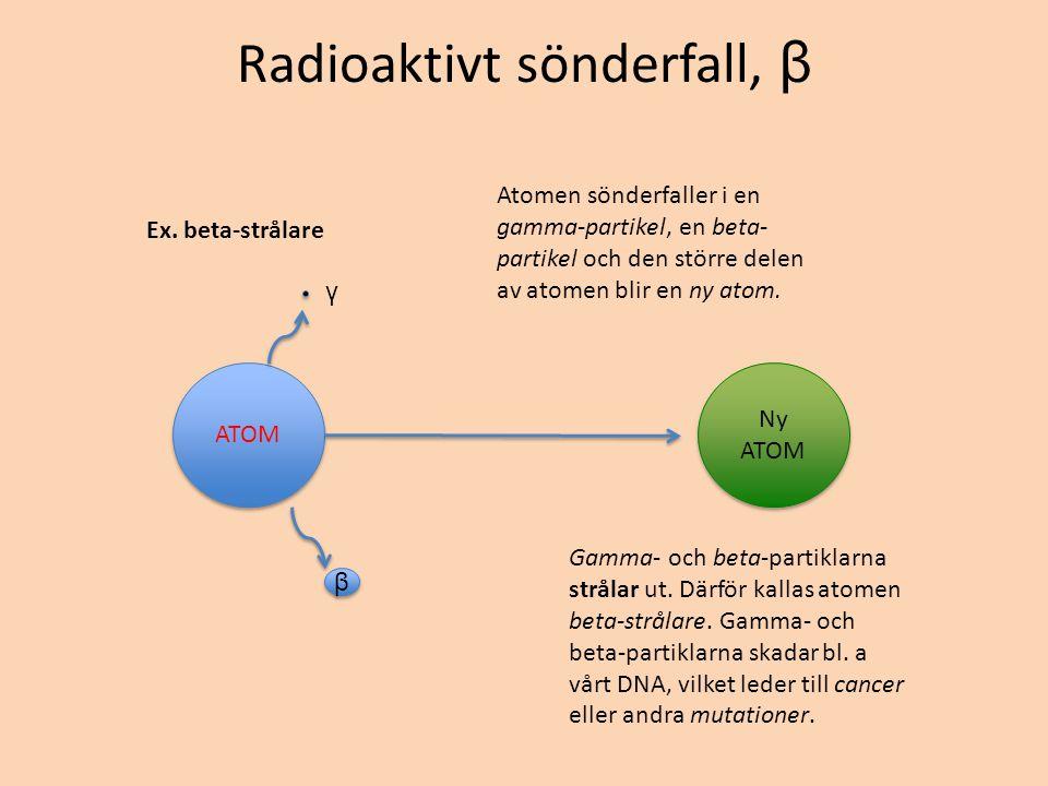 Radioaktivt sönderfall, β Ex. beta-strålare ATOM Ny ATOM β β γ Atomen sönderfaller i en gamma-partikel, en beta- partikel och den större delen av atom
